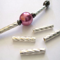 10 Twisted Sterling Silver Tube Beads 3x15 mm